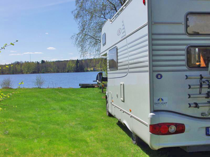 Motorhome at lake in Sweden