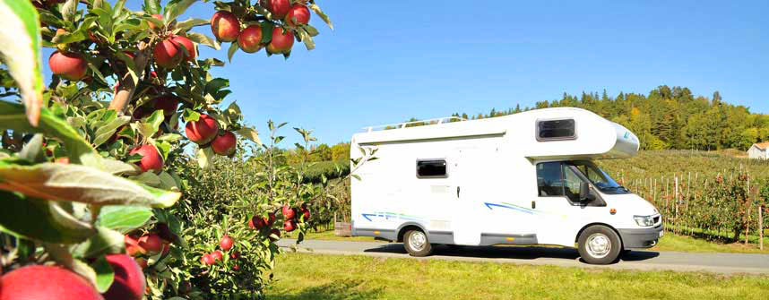 Motorhome in apple orchard