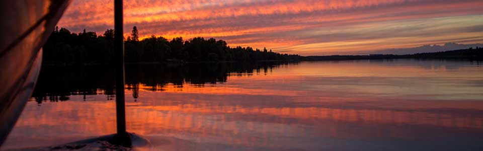 A beautiful Swedish summer lake at dusk